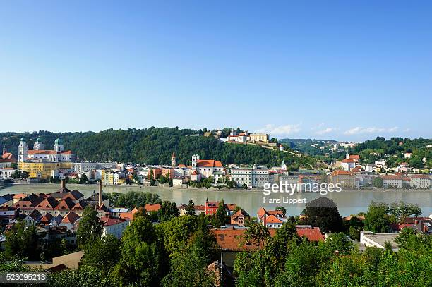 Passau, view over the Inn River with St. Stephens Cathedral, Church of St. Michael and Veste Oberhaus fortress, Lower Bavaria, Bavaria, Germany, Europe, PublicGround