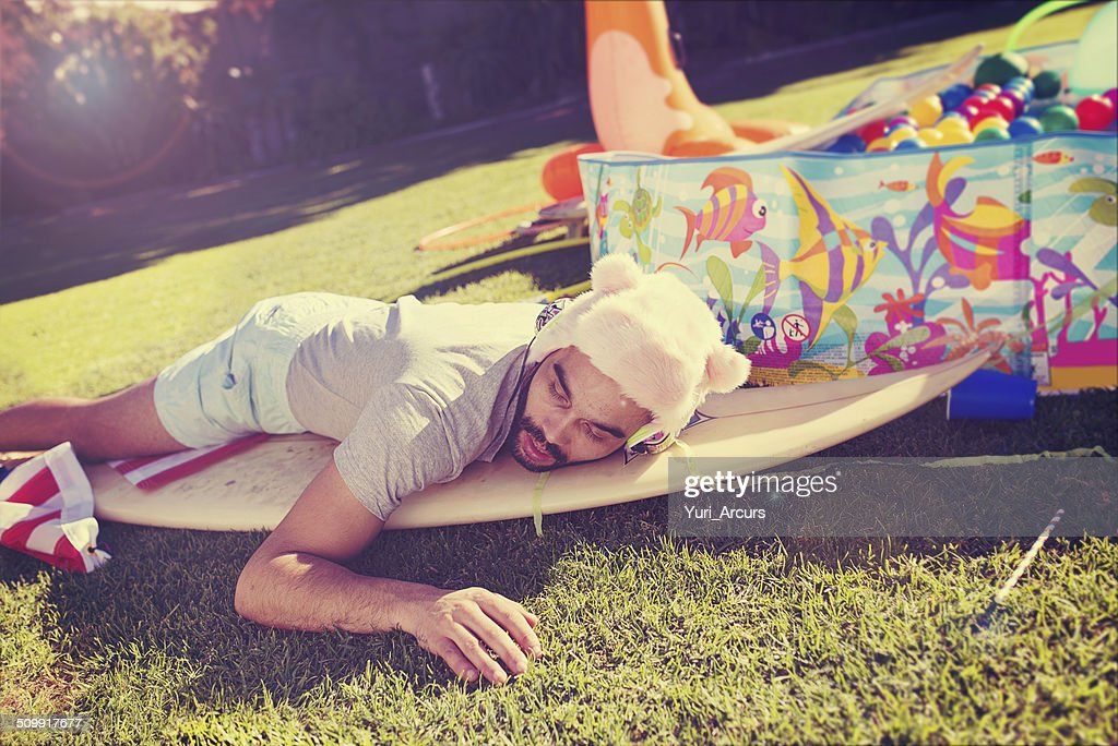 Passed out in the garden : Stock Photo