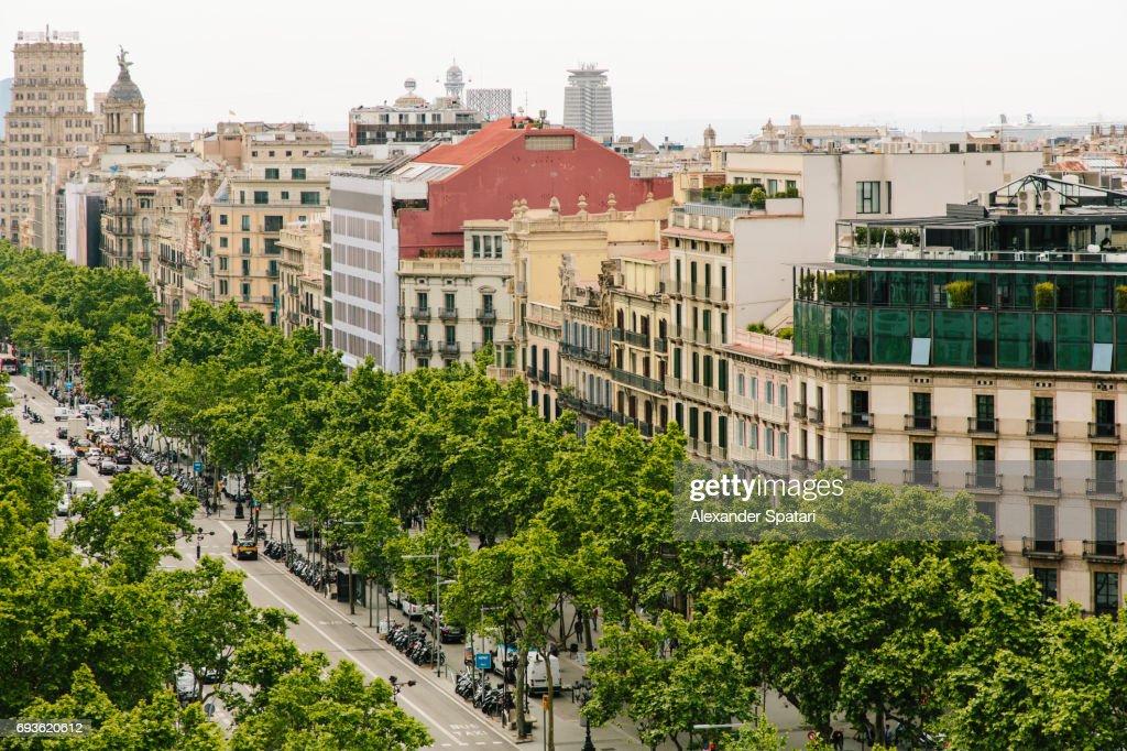Passeig De Gracia, high angle view, Barcelona, Spain : Stock Photo