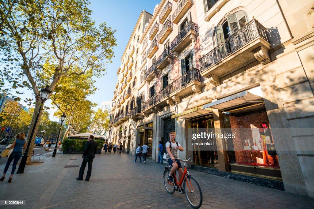 Passeig de Gracia, shopping street in Barcelona, Spain : Stock Photo