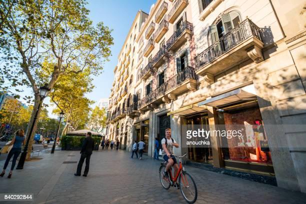 Passeig de Gracia, shopping street in Barcelona, Spain
