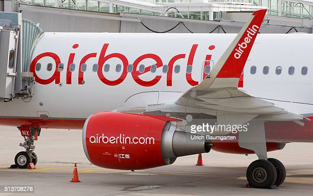 Passenger aircraft of Air Berlin on the FranzJosefStrauss airport in Munich