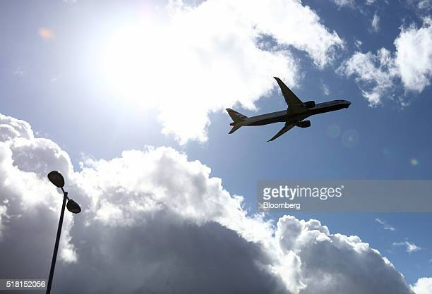 A passenger aircraft operated by British Airways a unit of International Consolidated Airlines Group SA takes off from Heathrow airport in London UK...