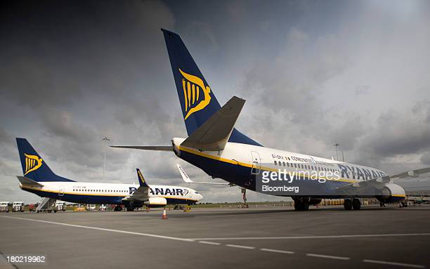 Passenger aircraft operated by Ryanair Holdings Plc are seen on the tarmac at Stansted Airport operated by Manchester Airports Group in Stansted UK...