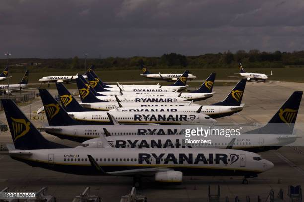 Passenger aircraft, operated by Ryanair Holdings Plc, on the tarmac at London Stansted Airport, operated by Manchester Airport Plc,in Stansted, U.K.,...