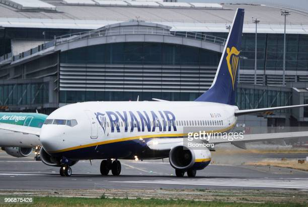 A passenger aircraft operated by Ryanair Holdings Plc taxis on the tarmac at Dublin Airport in Dublin Ireland on Thursday July 12 2018 Ryanair...