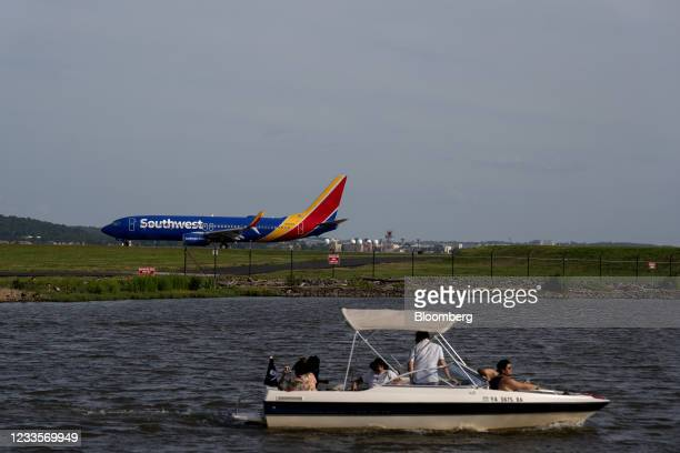 Passenger aircraft operated by Southwest Airlines Co. At Ronald Reagan National Airport in Arlington, Virginia, U.S., on Sunday, June 20, 2021. The...