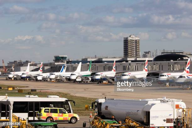 Passenger aircraft sit grounded on the tarmac at London City Airport following the discovery of an unexploded bomb in London UK on Monday Feb 12 2018...