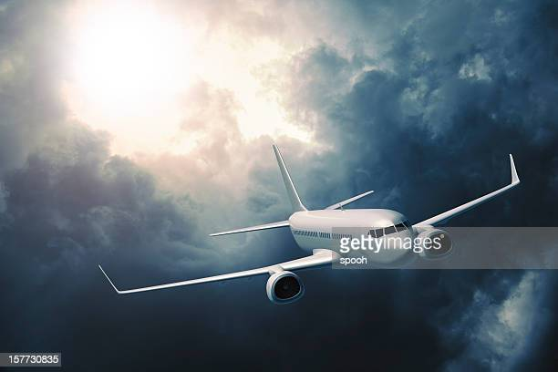 Passenger airplane flying in storm