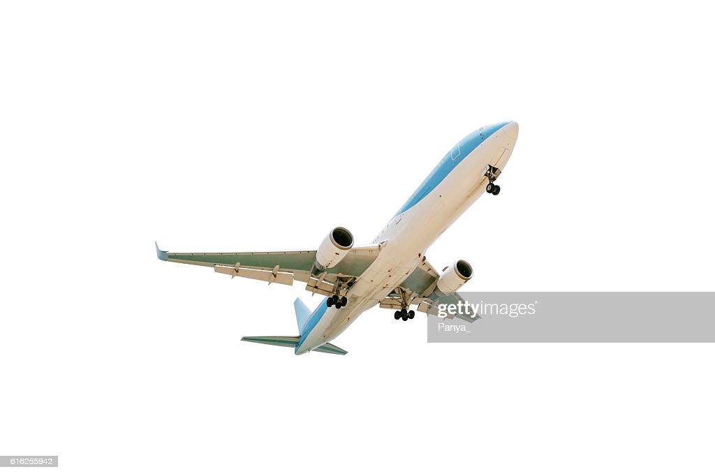 Avión de pasajeros, aislado sobre fondo blanco. : Foto de stock