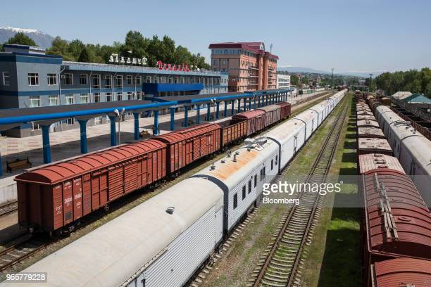 Passenger and freight trains stand at Dushanbe Station in Dushanbe Tajikistan on Sunday April 22 2018 Flung into independence after the Soviet Union...
