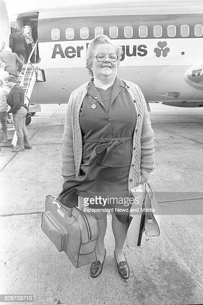 A passenger at Knock Airport for the first commercial Aer Lingus flights which took off on a pilgrimage to Rome
