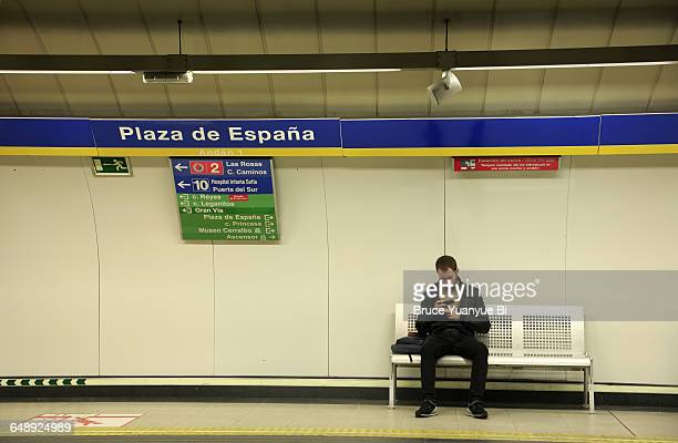 A passenger at the Platform of Madrid subway