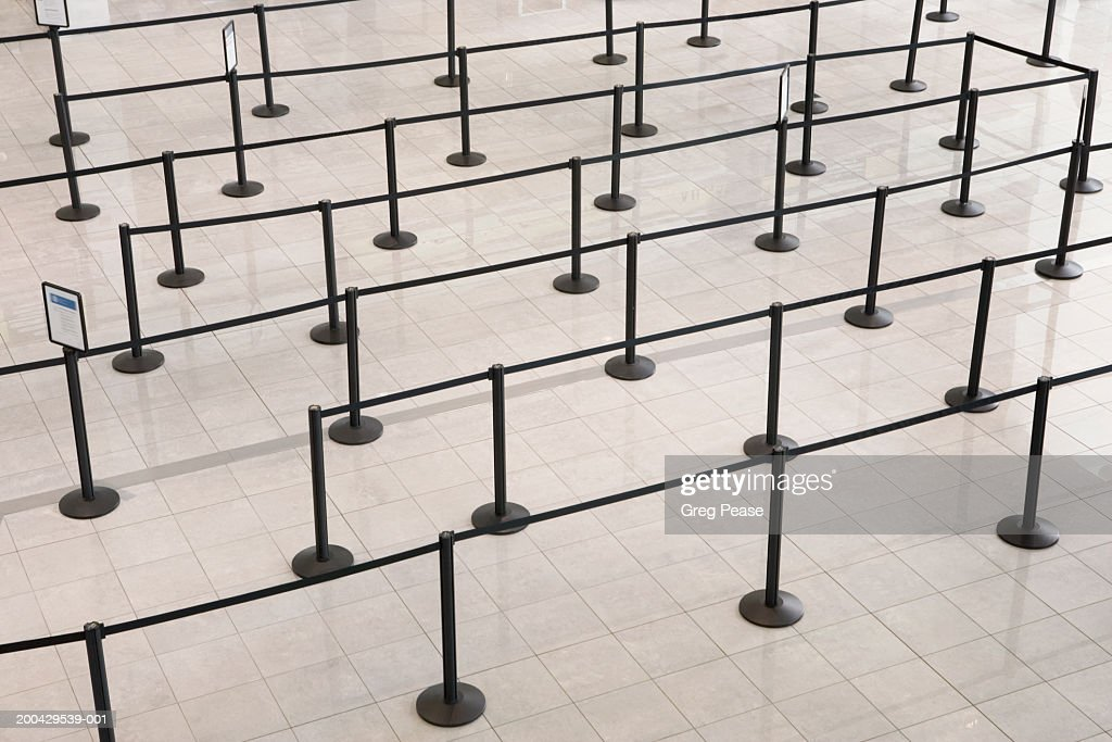 Passenger barriers at airport, elevated view : Stock Photo