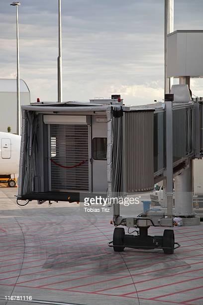 Passenger boarding bridge at an airport