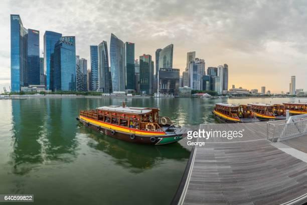 A passenger boat in Marina Bay, singapore
