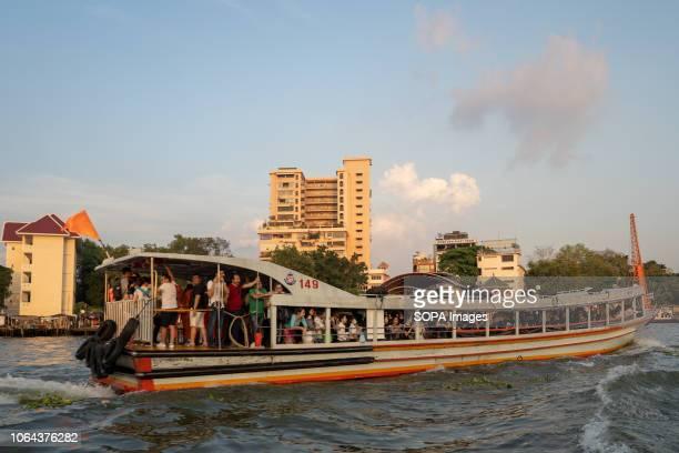 A passenger boat seen at the Chao Phraya River Bangkok Thailand Daily life in Bangkok capital of Thailand