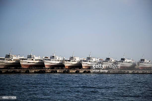 Passenger boats on land at the port of Yalta on the coast of Black Sea on March 22 2014 in Yalta Crimea Ukraine The Russian Federation has...