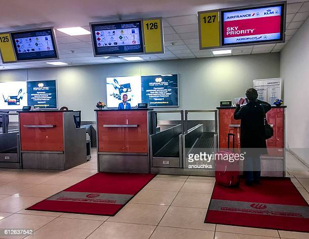 Passenger checking in at flight, Moscow Sheremetyevo Airport
