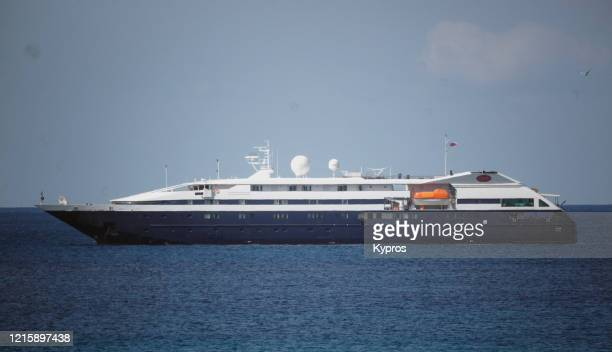 Passenger cruise ship Clio at anchor in the Aegean Sea off the Greek coast 23rd March 2020