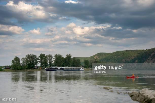 Passenger cruise ship, Danube River near Durnstein, Wachau Valley, Austria