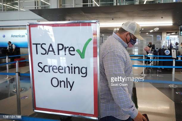 Passenger enters a Transportation Security Administration checkpoint at O'Hare International Airport on October 19, 2020 in Chicago, Illinois....