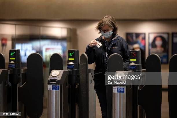 Passenger exits Waterloo Station on October 21, 2020 in London, England. The London Mayor's office has released news that the Government are...