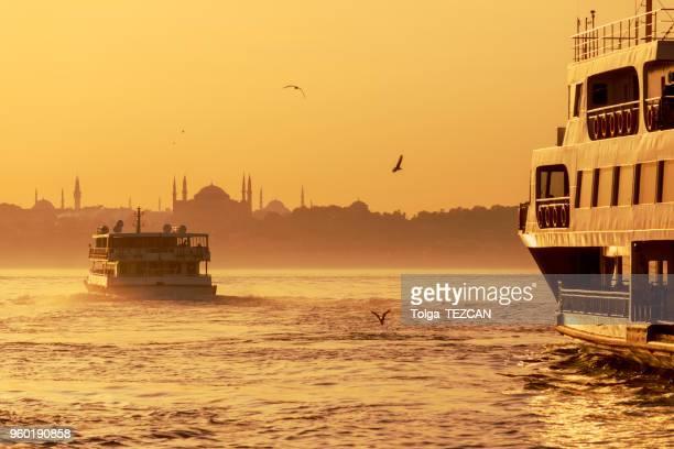 Passenger Ferry in the Bosphorus at sunset