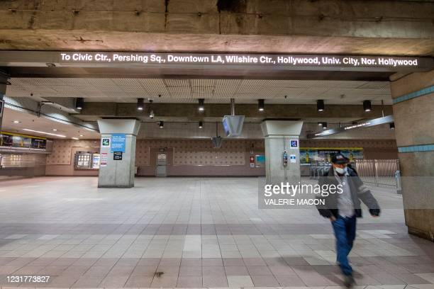 Passenger gets out of the Red Line at the Union Station, downtown L.A. Where part of the Oscars Ceremony will take place Sunday, April 25, in Los...