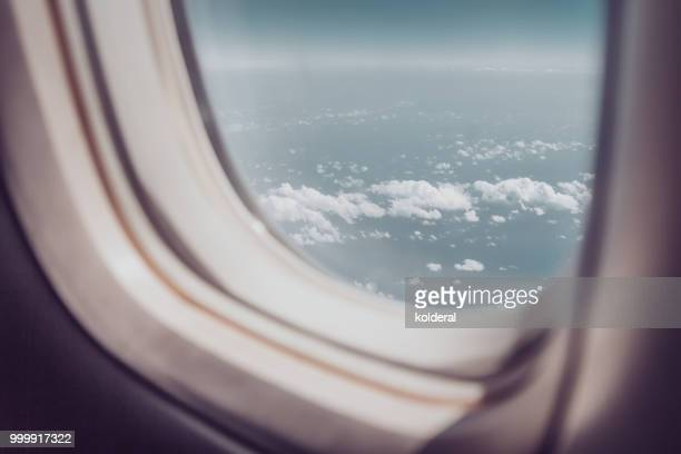 Passenger POV in the flying commercial airplane