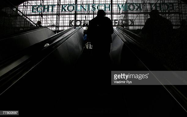 Passenger is seen on the escalator at the Cologne Central Station during a nation wide local and regional trains strike of the German Locomotive...
