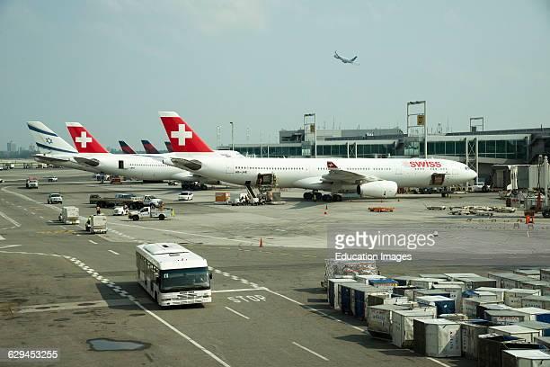 Passenger jet aircraft on the stand at JFK International Airport New York USA