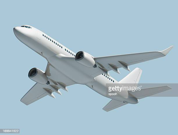 Passenger jet airplane isolated on blue background
