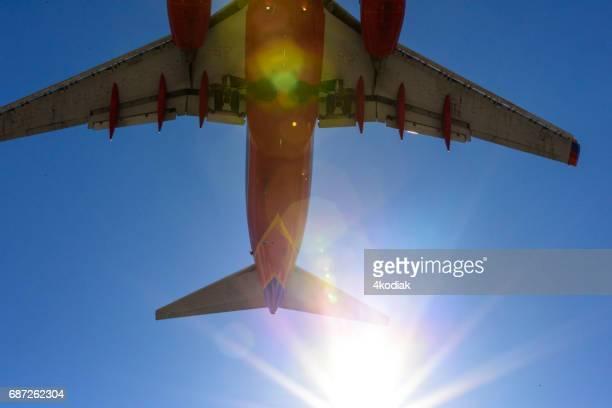 passenger jet landing at mccarran international airport in las vegas nevada - mccarran international airport stock photos and pictures