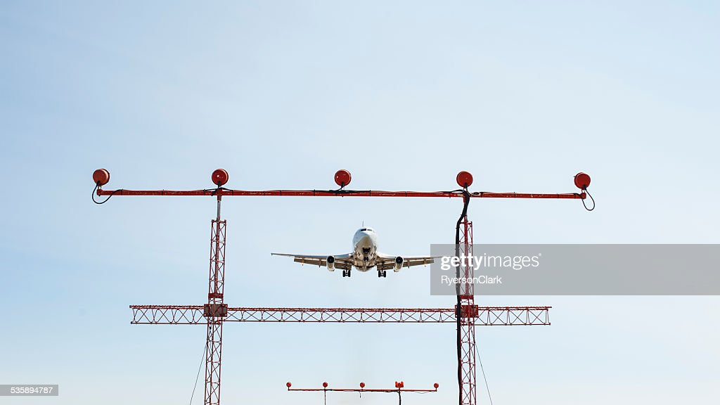 Passenger Jet landing in Iqaluit, Nunavut, Canada. : Stock Photo
