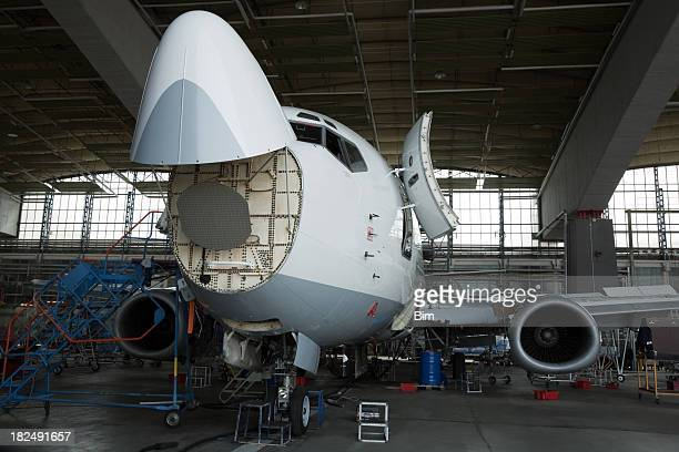 Passenger Jet Maintenance Repair and Inspection in Hangar