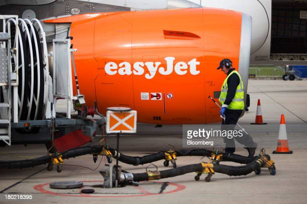 A passenger jet operated by EasyJet Plc refuels from an underground storage tank at Stansted Airport operated by Manchester Airports Group in...