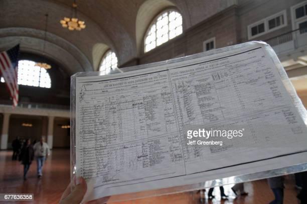 Passenger manifest document at the Ellis Island Immigration Museum.