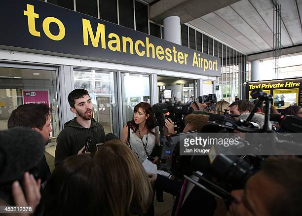 A passenger of the Qatar Airways flight from Doha are interviewed after their plane had a military escort into Manchester Airport a man has been...