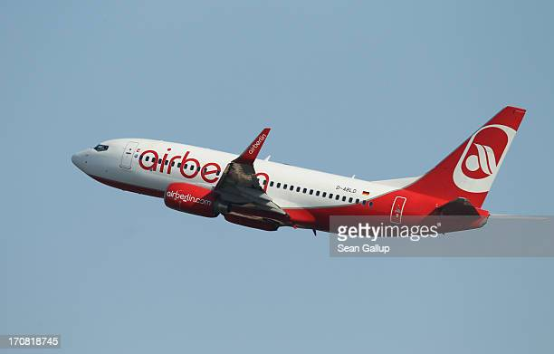 A passenger plane of German airline Air Berlin takes off from Tegel airport on June 16 2013 in Berlin Germany The union of Air Berlin pilots...