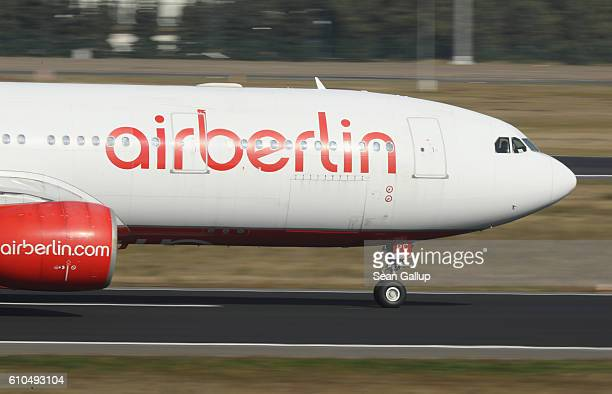 A passenger plane of German airliner Air Berlin takes off at Tegel Airport on September 26 2016 in Berlin Germany According to media reports Air...