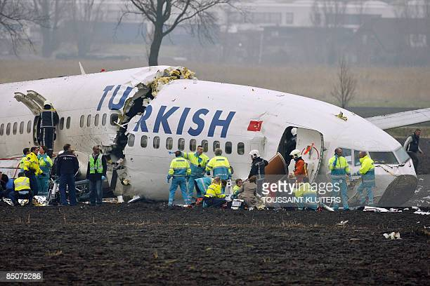 Passenger plane operated by Turkish Airlines crashed on February 25, 2009 while landing at the Schiphol airport in Amsterdam. The plane lies broken...