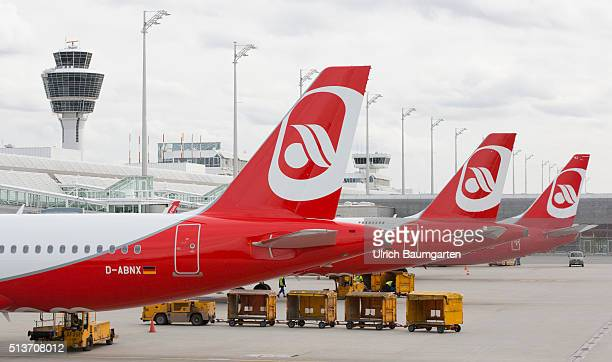 Passenger planes of Air Berlin on the FranzJosefStrauss airport in Munich