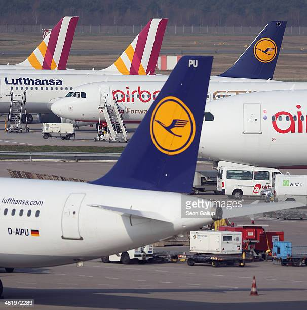 Passenger planes of Lufthansa and Germanwings stand on the tarmac at Tegel Airport during a strike by Lufthansa and Germanwings pilots on April 2,...