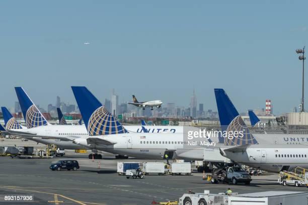 Passenger planes parked at the gates at Newark Liberty International Airport