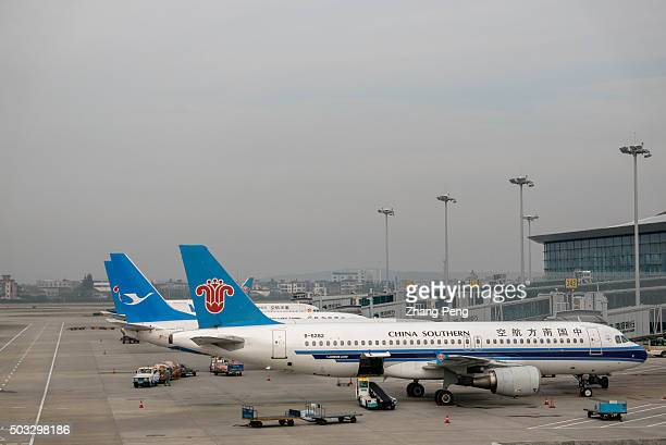 Passenger planes stops on tarmac The year of 2015 is the most profitable year for Chinas aviation industry In 2016 people will see more new airlines...