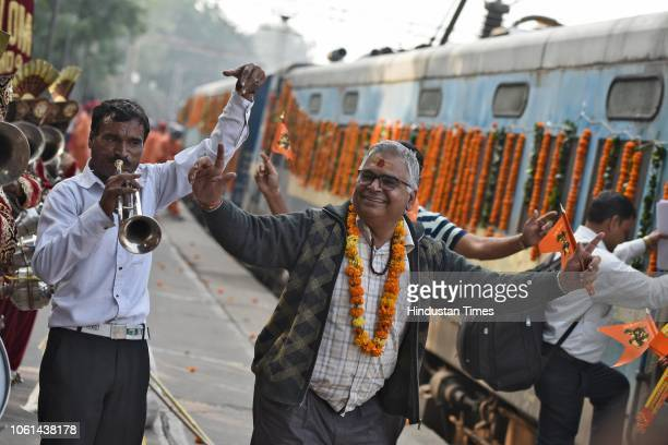 A passenger seen dancing during the launch of a tourist train 'Ramayana Express' by Indian Railway Catering and Tourism Corporation from Safdarjung...