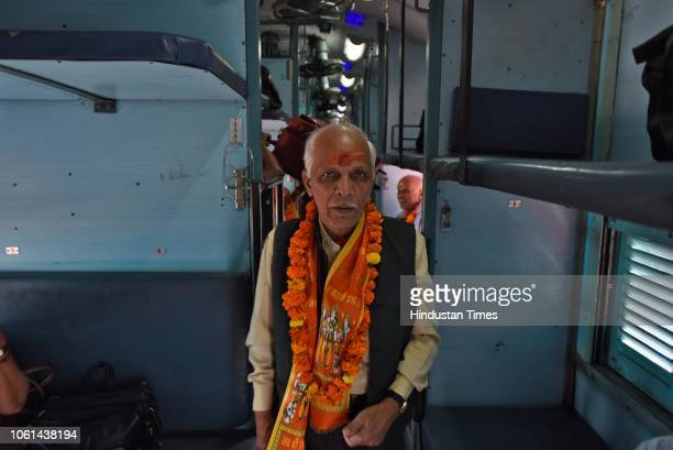 A passenger seen inside the newly launched tourist train 'Ramayana Express' by Indian Railway Catering and Tourism Corporation from Safdarjung...