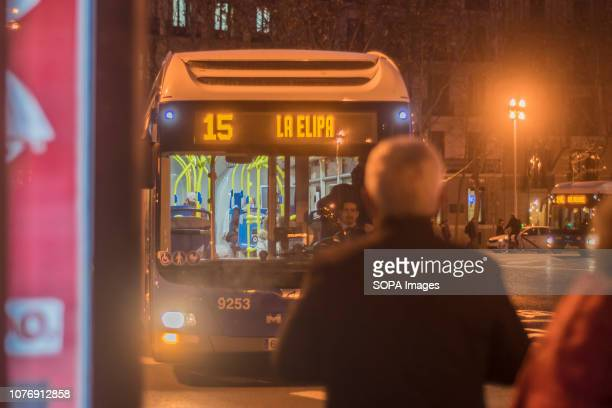 A passenger seen waiting for a bus The EMT transport of Madrid transported more than 420 million users in 2018 As reported by the Consistory for...