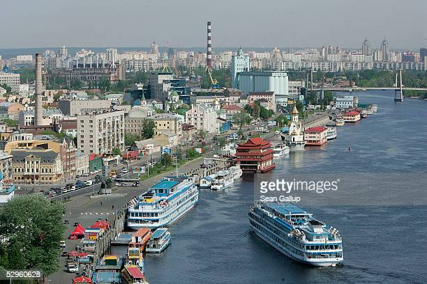 Passenger ship arrives to dock while travelling along the Dnieper River May 18, 2005 in Kiev, Ukraine. Kiev hosts this year's Eurovision Song Contest.